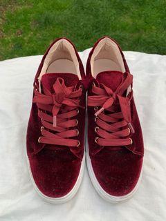 Maroon velvet sneakers