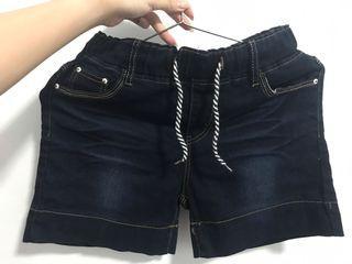 深藍色短褲,可反折,鬆緊帶,未穿過!穿到L應該是沒問題 #單身狗