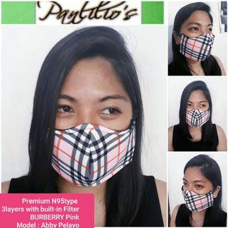 BUY1TAKE1 Premium Burberry Masks 3Layers N95 TypeFace Mask Design fits❤all washable with built in washable filter REVERSIBLE