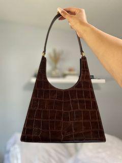 Staud Brown Croc Rey Bag