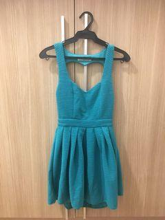 Teal Backless Party Dress