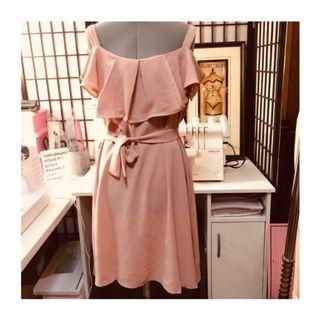 Tie Waist Ruffled Dress