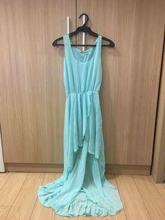 Tiffany Blue High-Low Sheer Dress