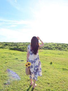 2nana 棉麻清新感洋裝/無袖藍色碎花扶桑花洋裝/夏天海灘風
