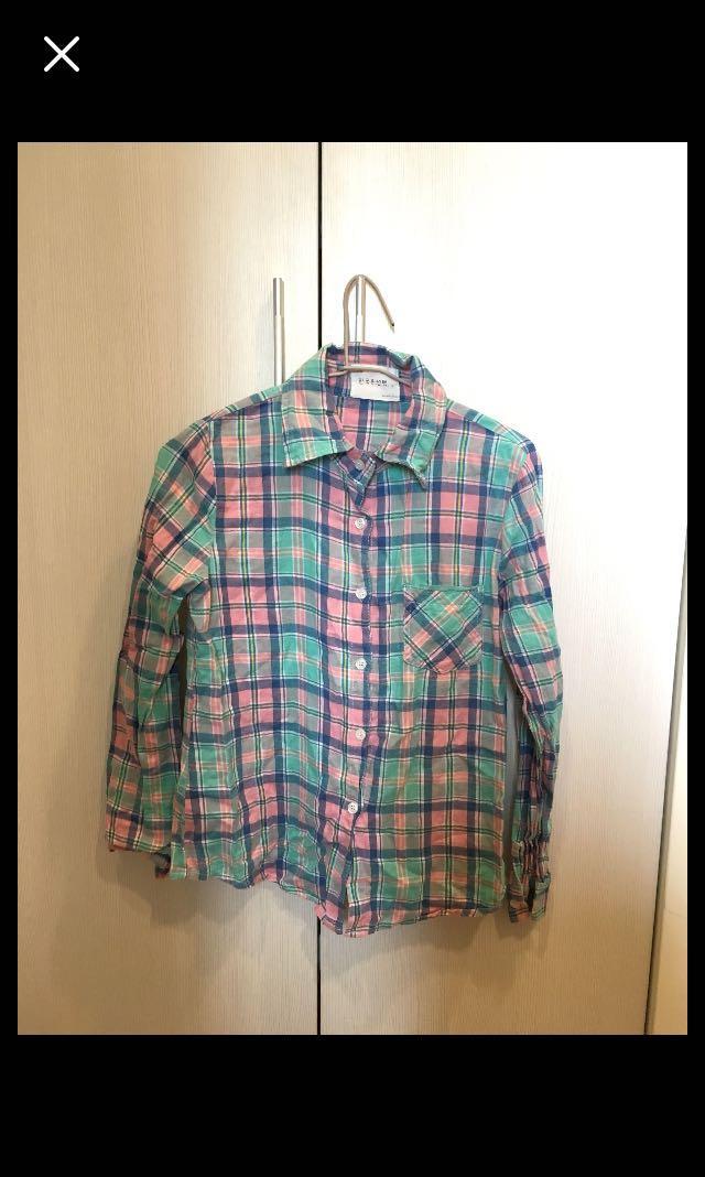 粉綠格紋襯衫