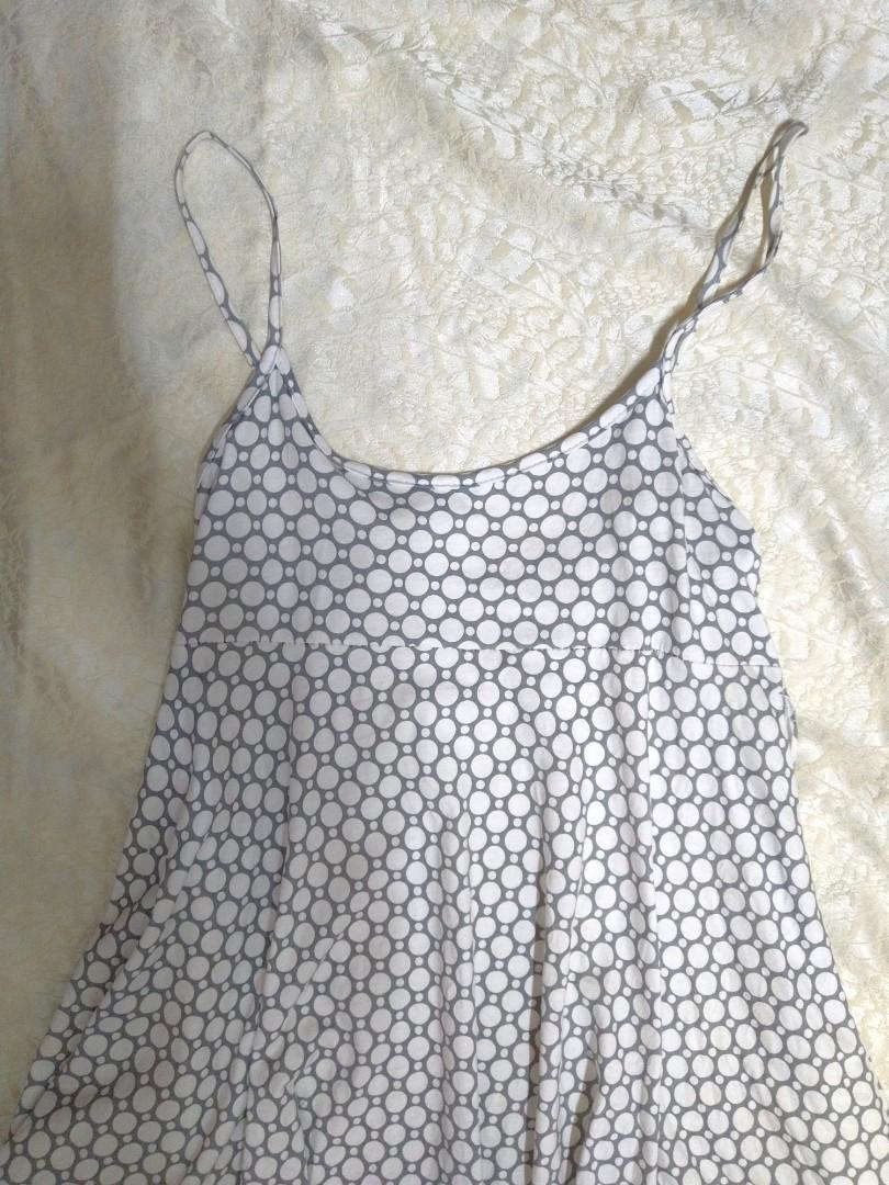 贈品❤️灰白點點 傘襬 細肩帶 連身裙 洋裝。棉質,胸下有綁帶,全身有彈性~ #滿額贈禮