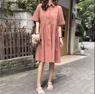 可愛洋裝🌟簡約素色小翻領短袖洋裝 寬鬆連衣裙
