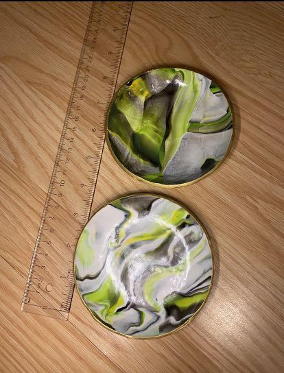 BAYVIEW/EGLINTON PICKUP. Green marble print polymer clay jewelry dish set of 2