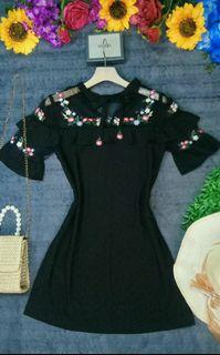 Black Embroidered Mesh Ruffled Sleeved Dress