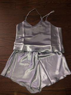 🤍blue satin sleepwear set