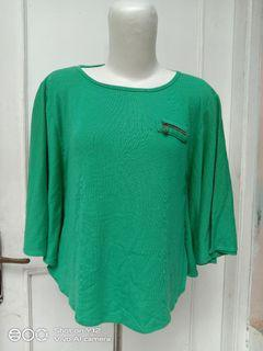 Green Top blouse Zipper kelelawar