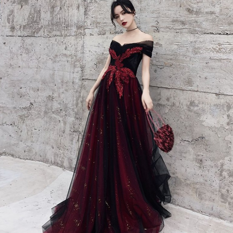 Pre Order Red Ombre Glitter Off Shoulder Prom Wedding
