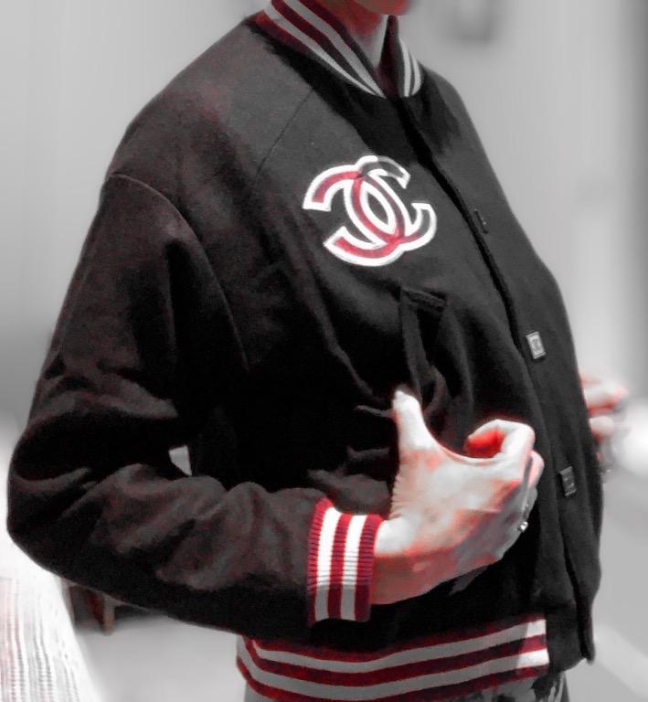 Vintage CC Logo Wool Varsity Jacket