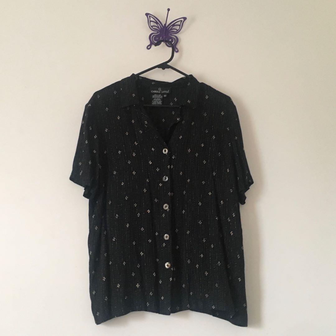 black floral button up top