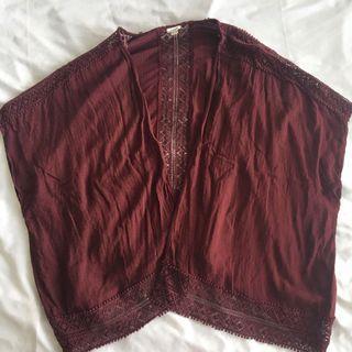 GARAGE Maroon Flowy Cardigan with Crochet Trim