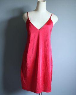 Red satin slip dress
