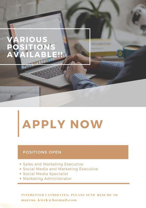 Various Positions Available