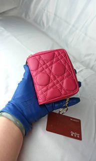 100%羊皮,品牌Ouliss淑女零錢包鑰匙包口紅包,信用卡包,💃輕巧高端大氣,閃亮金屬圈