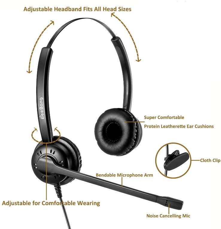 Arama Phones Headset RJ9 with Pro Noise Canceling Mic and Mute Switch Controls Wired Office Headset Compatible with Polycom Mitel Plantronic Nortel Shoretel Aastra Avaya Landline Phones