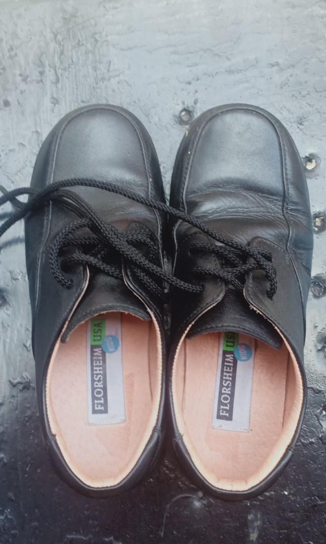 Black Leather School Shoes, Babies