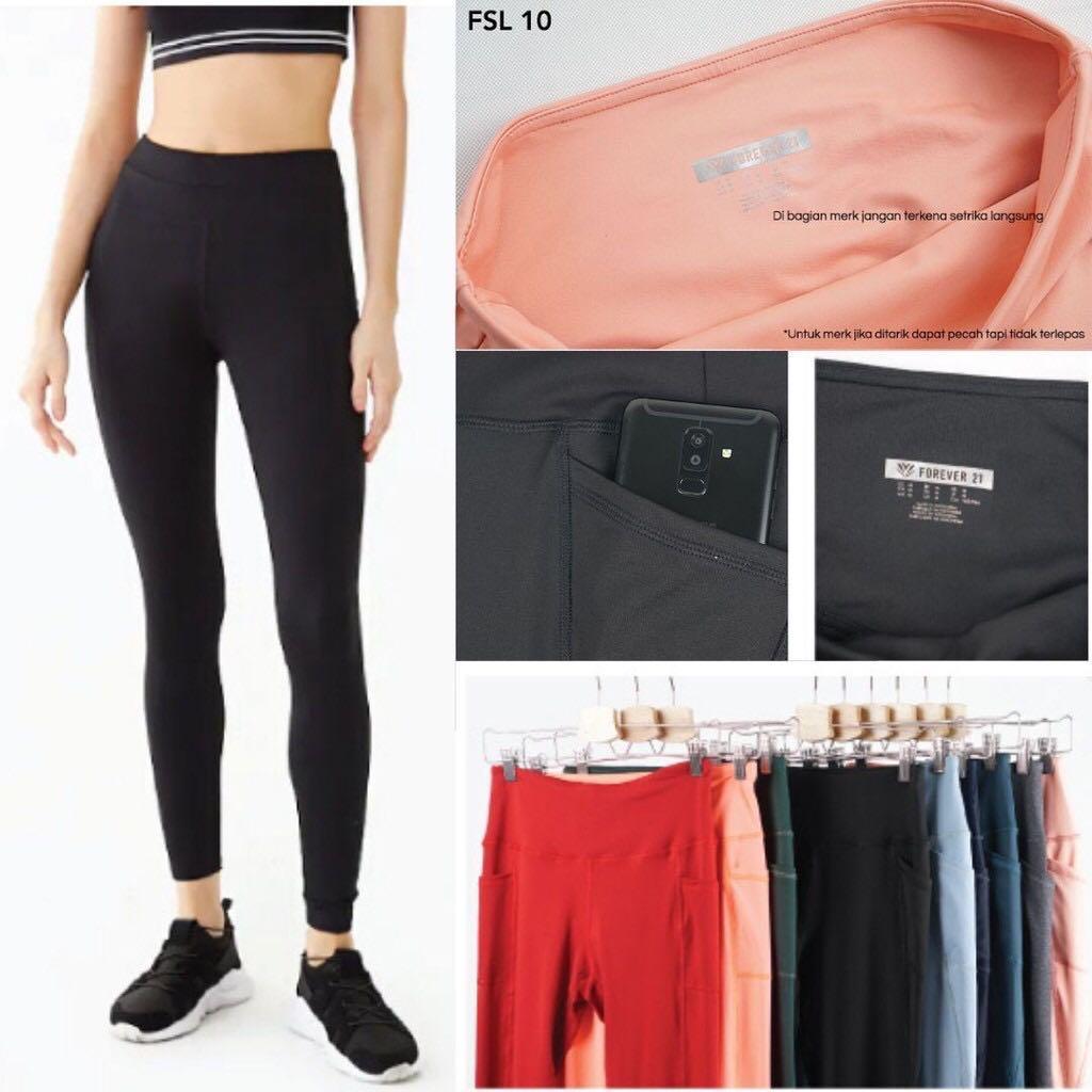 Forever21 Legging Double Pocket Original Celana Legging Olahraga Wanita Olah Raga Baju Olahraga Di Carousell