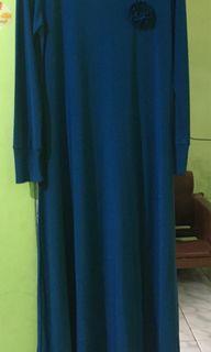 #LebihNyaman long dress / gamis biru jersey