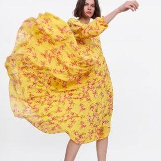 RARE BLOGGERS' FAVE! ZARA S/S 2019 YELLOW Floral Print Maxi Dress