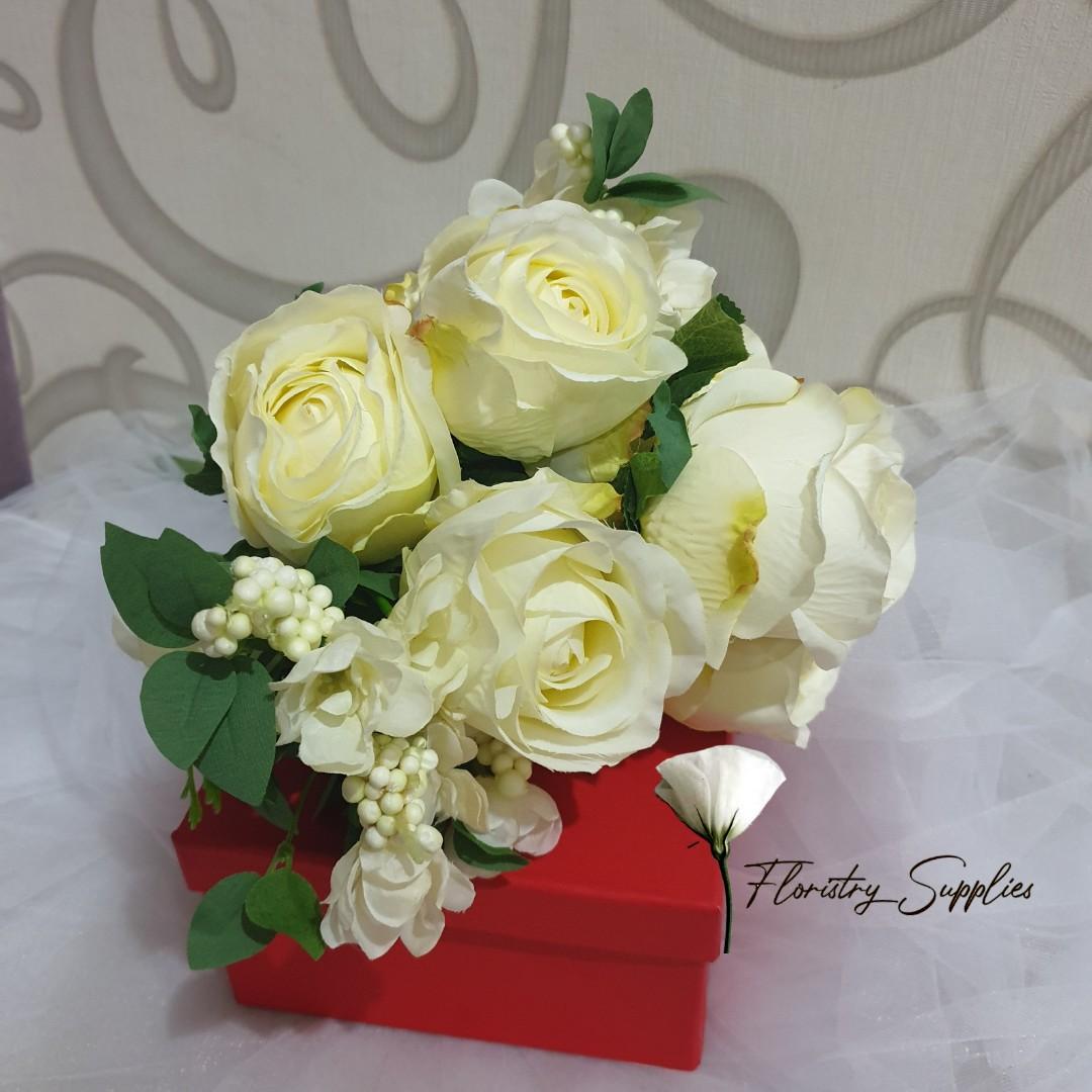 RO01 Rose Putih/Bunga Mawar Palsu/Bunga Plastik/Bunga Artificial