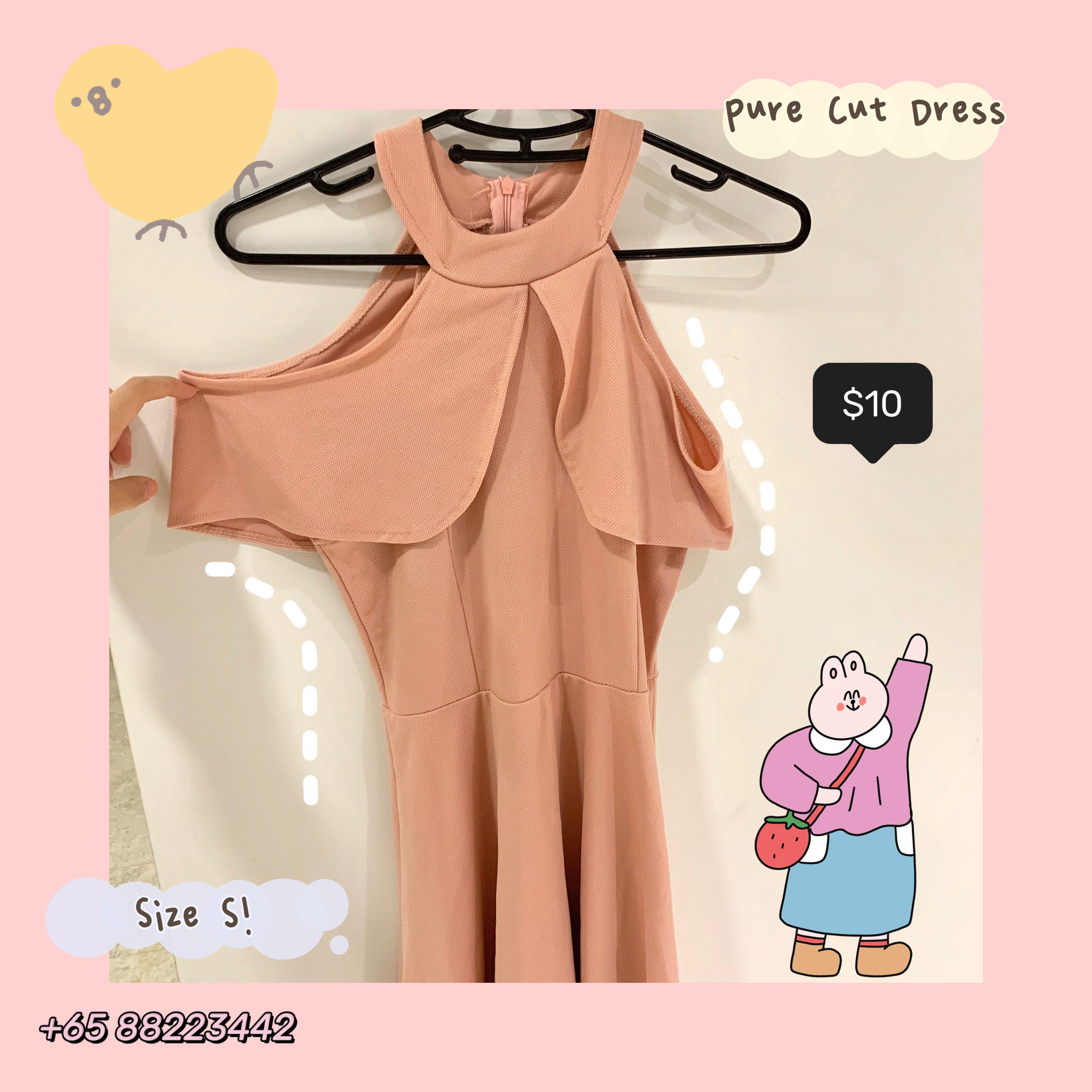 Sojudeul Closet Preowned Soft Peach Slit Collar Dress Cute Women S Fashion Clothes Dresses Skirts On Carousell