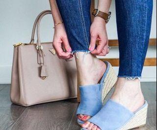 """VIONIC """"Tulum Kadyn"""" Espadrille Wedge Slides Sandals in Blue"""