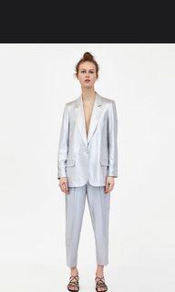 Zara 打褶銀色老爺西裝褲