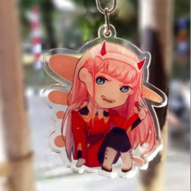 Zero two acrylic keychain / gantungan zero two darling in the franxx anime