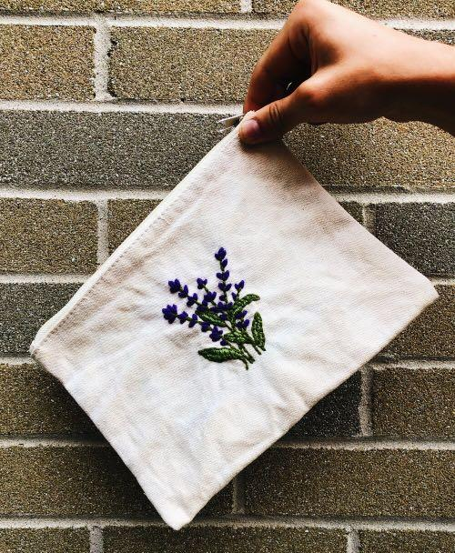 Embroidered Lavender Design Pouch