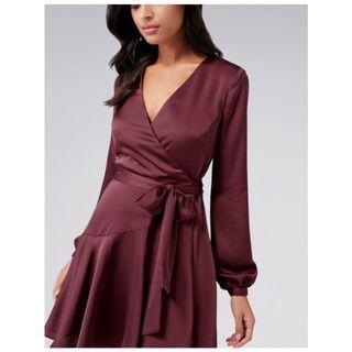 Ever New Long Sleeve Wrap Mini Dress