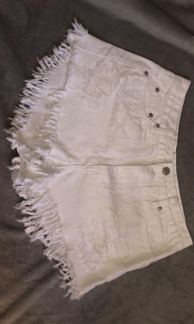 glassons white demin shorts