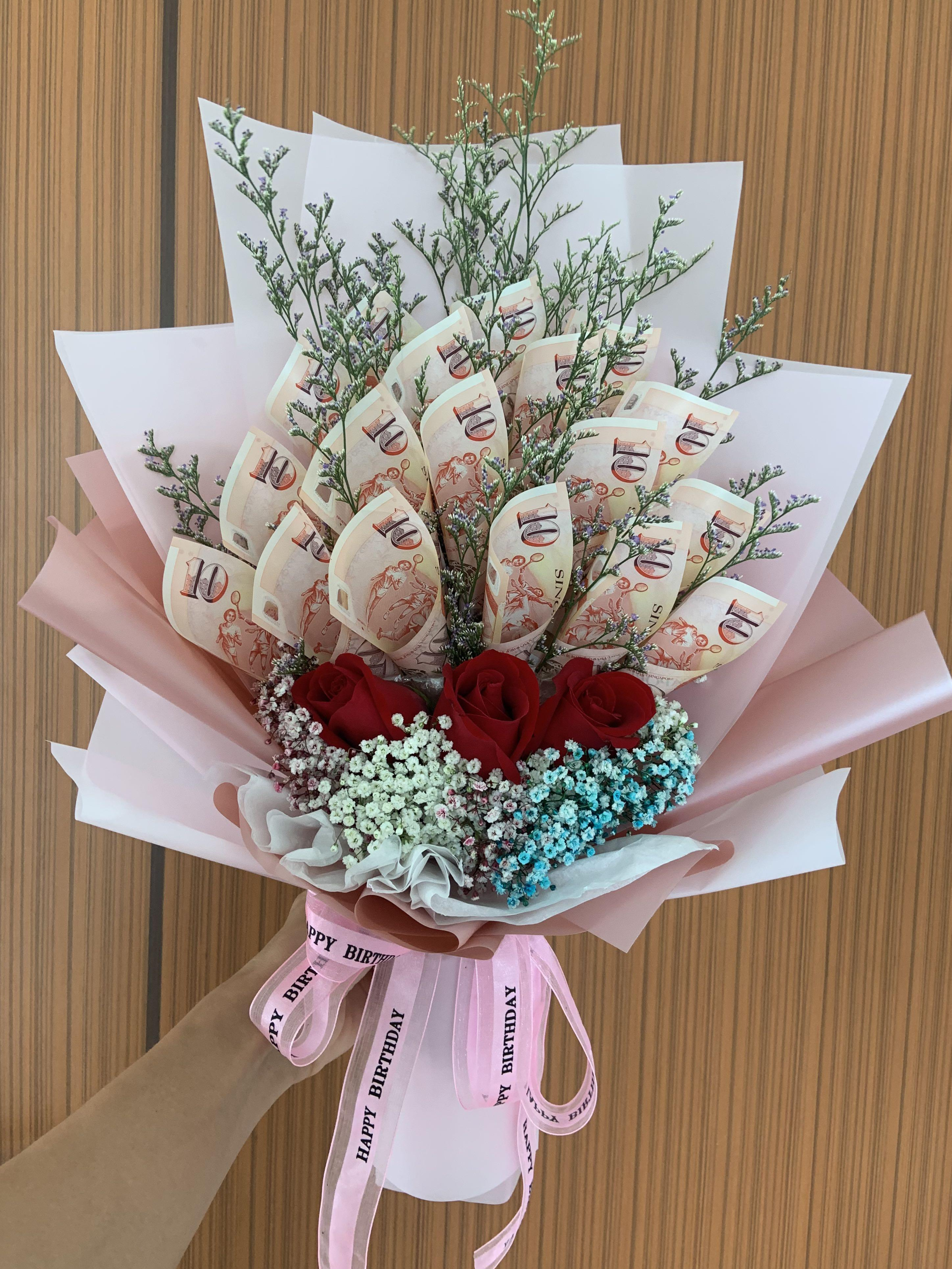 Money Rose Bouquet Gardening Flowers Bouquets On Carousell