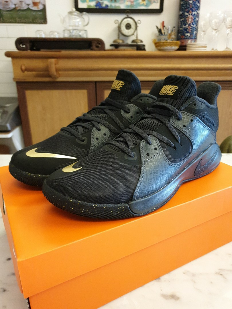 Nike Fly By Mid Black Gold Basketball