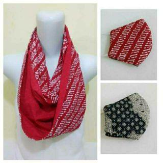 Scarf/Syal Batik Parang Merah (FREE Masker 2 Motif Bolak Balik)