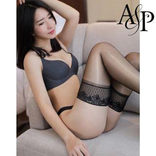 現貨Sexy Lingerie Hoisery 性感油光10D蕾絲防滑矽膠高筒長筒絲襪 情趣内衣