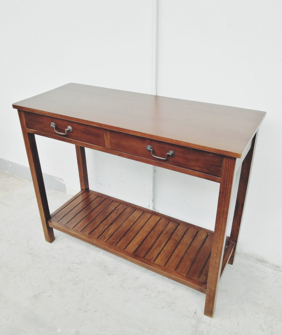 Picture of: Solid Teak 2 Drawer Console Table Furniture Tables Chairs On Carousell