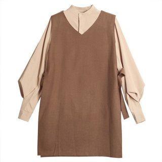 套装 大尺碼套裝 兩件式套裝 長袖 氣質 連身裙 洋裝 連衣裙 立領 襯衫 長袖襯衣 韓版 寬鬆 顯瘦 燈籠袖