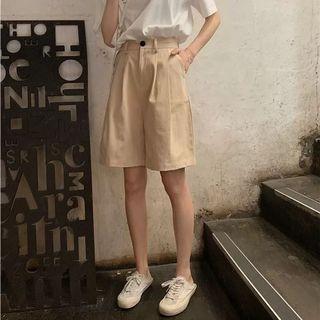 工裝五分褲女夏裝薄款寬鬆bf休閒短褲高腰顯瘦直筒闊腿中褲潮ins