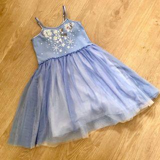 Cotton On Kids Blue Tutu Dress with Glitter & Snowflakes Embellishments   Disney Frozen Queen Elsa Tulle Dress Size 1