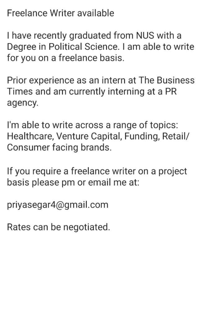 Freelance Writer available(on a project basis)