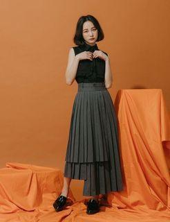 Marjorie 層層思念,設計感不規則造型高腰百摺裙 S灰 #newstart