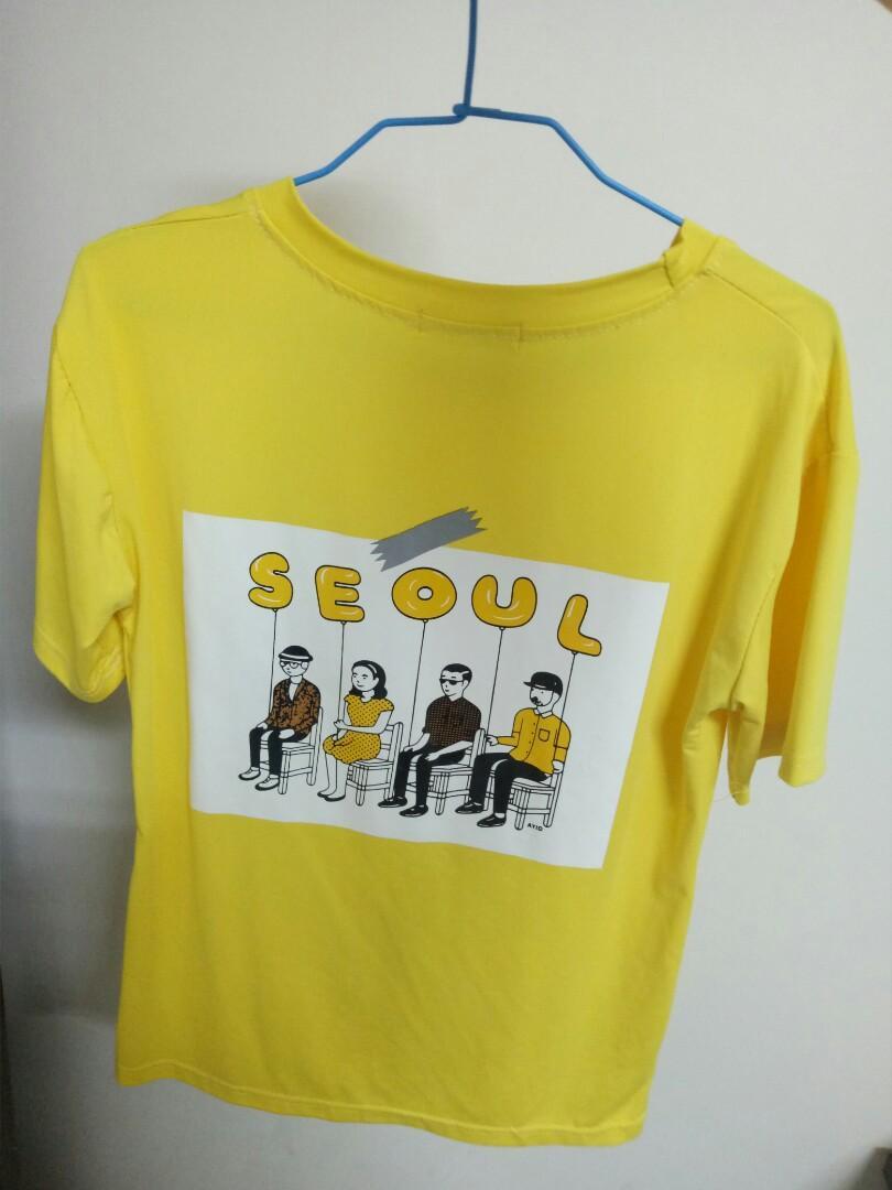 【可換物】韓系黃色短袖t