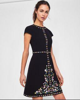 Ted Baker London Jeorjia Embroidered Cap Sleeve Dress, size1