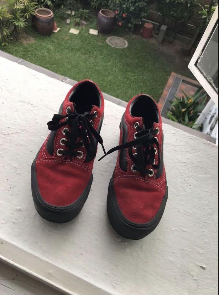 Vans red and black platform sneakers