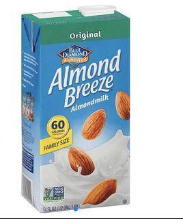 Almond Breeze原味杏仁飲 保久乳 生銅飲食 好市多