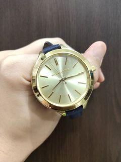 Authentic Michael Kors Mid-size Runway Gold-tone Dial Blue Leather Ladies Watch